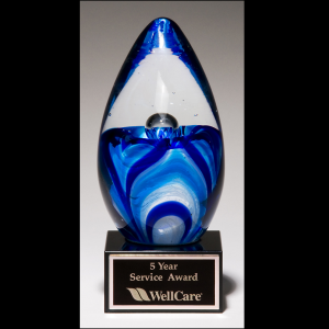 Blue Glass Egg w/ Base 1633