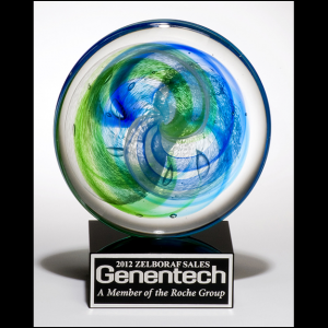 Blue and Green Accented Art Glass Disk Award 2107