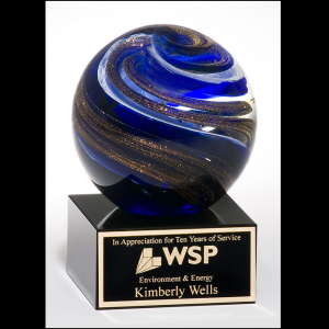 Art Glass Globe Award with Metallic Gold Highlights 2123