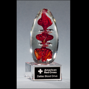 Egg-Shaped Red Art Glass Award G2255