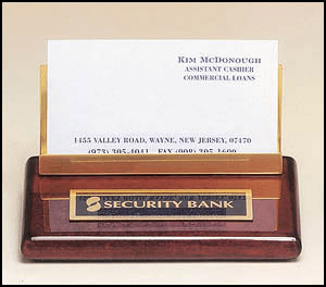 542 Rosewood Desktop Business Card Holder with Brass Accent