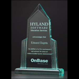 A6590 Peak Shaped Jade Acrylic Award