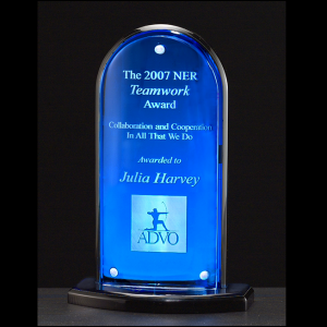 A6600 Arch Shaped Award with Blue Mirror Feature