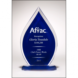 A6857 Flame Shaped Award with Blue Silk Screened Back