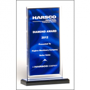A6865 Rectangular Shaped Award with Blue Draped Satin Pattern