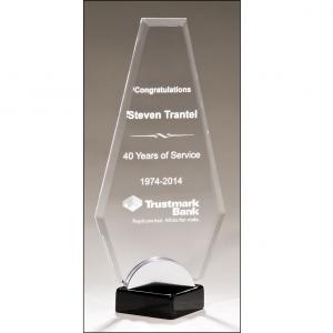 Angular Glass Award w/ Black Base A6907