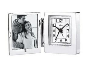 B6843 Voyager Travel Alarm Clock/Photo Frame with Engraveable Case