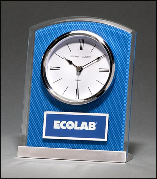 Blue Carbon Fiber Glass Clock BC1007
