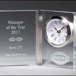 Glass Book Award with Clock BC1031