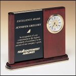 BC3 Rosewood Desk Clock with Duo Engraving Plates 1