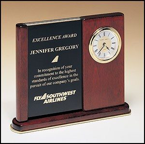 BC3 Rosewood Desk Clock with Duo Engraving Plates