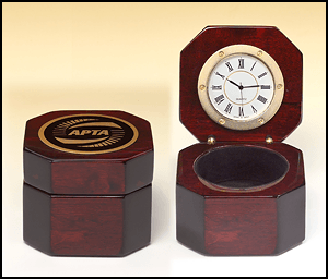 BC521 Rosewood Piano-finish Desk Clock with Storage Area