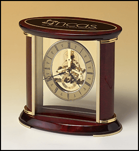 BC523 Skeleton Desk Clock with Rosewood and Gold Accents