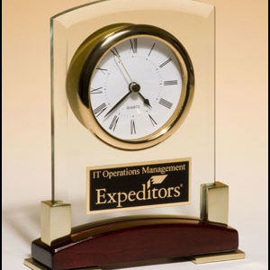 BC872 Arched-look Glass Desktop Clock w/ Rosewood & Gold Base