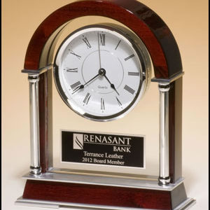 BC879 Rosewood Mantel Clock with Silver Accents