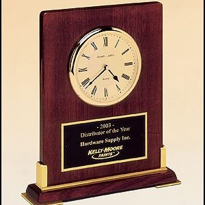 BC899 Rosewood Piano-finish Desktop Clock with Gold Accents