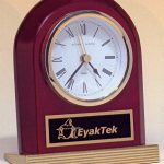 BC925 Arched Rosewood Engraveable Desk Clock with Gold Wedge Base 1
