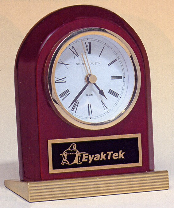 BC925 Arched Rosewood Engraveable Desk Clock with Gold Wedge Base