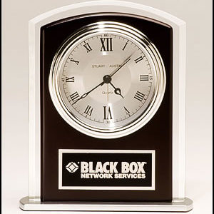 BC965 Wood Accented Glass Desk Clock