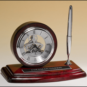 Rosewood Skeleton Clock And Pen Holder BC969