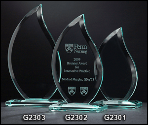 G2301 Flame Shaped Glass Award