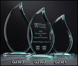 G2301 Flame Shaped Glass Award
