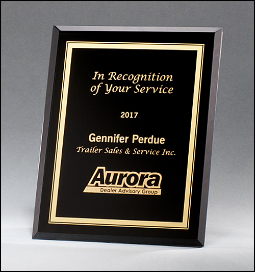 Black Glass Plaque with Gold Border G2890