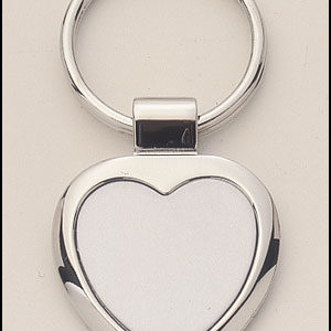 PK10 Heart Shaped Silver Keyring with Engraveable Insert