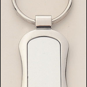 PK12 Rectangular Shaped Silver Keyring with Engraveable Insert