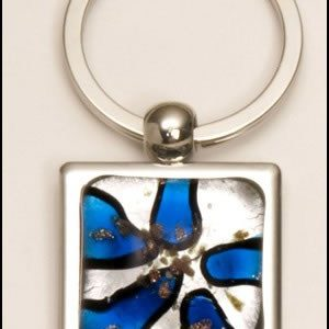 PK271 Light Blue Art Glass Keyring