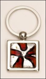 PK284 Red Art Glass Keyring