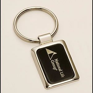 PK328 Chrome Plated Keyring with Black Aluminum Insert