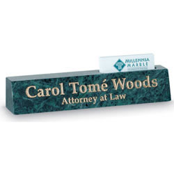 Nameplate/Cardholder - Green Marble