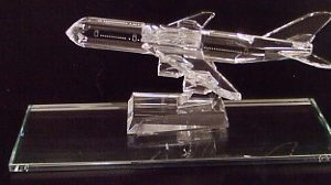 Engravable Custom Large Glass Airplane