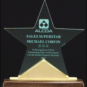 A6578 Jade Acrylic Star on Walnut and Gold Accented Base