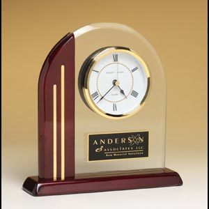 BC919 Rosewood and Glass Arched Desk Clock