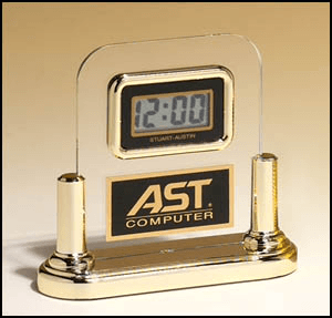 BC2 Acrylic LCD Clock with Goldtone Base