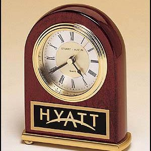 BC46 Arched Rosewood Engraveable Desk Clock with Brass Base