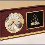 BC48 Rosewood Engraveable Desk Clock with Brass Base