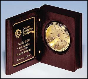 BC69 Mahogany Finish Book Clock with Gold Dial