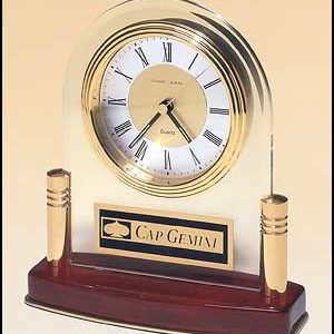 BC889 Glass clock w/ Rosewood Base