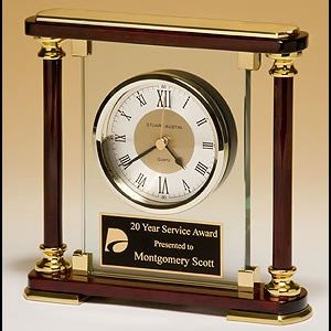 BC956 Rosewood and Glass Mantle Clock with Gold Accents