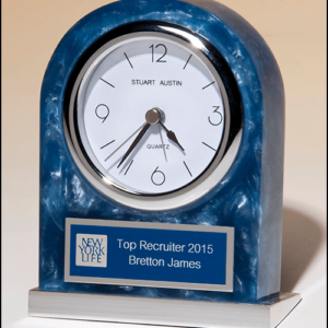 Blue Marblized Clock with Silver Plate BC980
