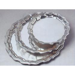 "Engravable Chippendale 10"" Pewter Tray"