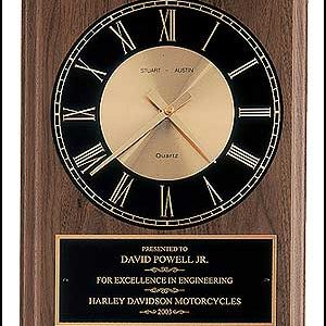 BC247 American Walnut Wall Clock with Black and Gold Dial