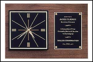 BC52 American Walnut Wall Clock with Black Squared Dial