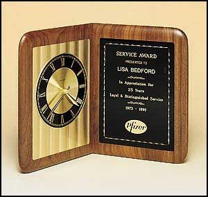 BC95 Book-style Walnut Mantle Clock with Black/Gold Dial