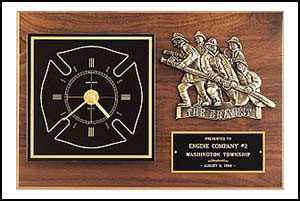 BC96 Plaque/Clock with 'The Bravest' Firemen Bronze Casting