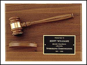PG2786 American Walnut Plaque with Gavel and Block