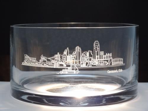 Cincinnati Scene Crystal Bowl